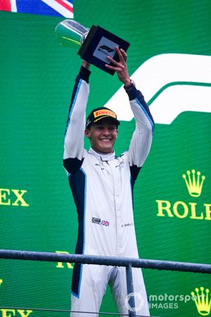 George Russell, Williams, 2nd position, lifts his trophy