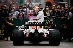 Max Verstappen, Red Bull Racing, 2nd position, climbs out of his car in Parc Ferme
