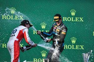 Enzo Fittipaldi, Charouz Racing System and Race Winner Matteo Nannini, HWA Racelab celebrate on the podium