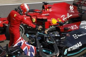 Charles Leclerc, Ferrari, 2nd position, congratulates Lewis Hamilton, Mercedes, 1st position, in Parc Ferme