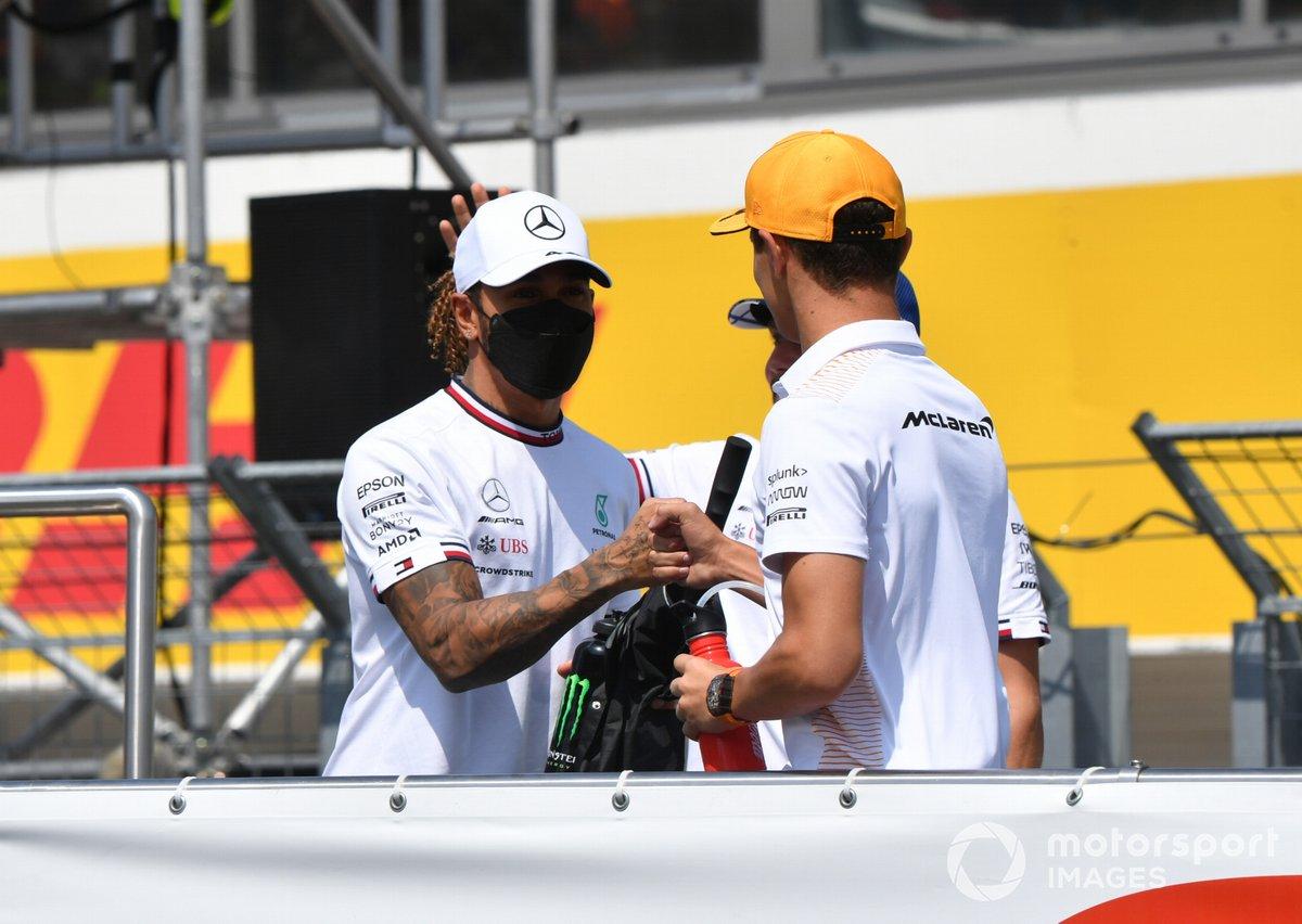 Lewis Hamilton, Mercedes, Lando Norris, McLaren in the drivers' parade