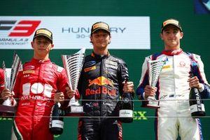 Podium: Race winner Dennis Hauger, Prema Racing, second place Arthur Leclerc, Prema Racing, third place Jack Doohan, Trident