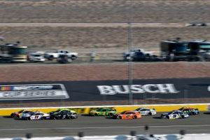 Kyle Busch, Joe Gibbs Racing, Toyota Camry M&M's Ethel M and Denny Hamlin, Joe Gibbs Racing, Toyota Camry FedEx Office