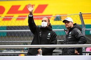 Lewis Hamilton, Mercedes, and Valtteri Bottas, Mercedes, in the drivers parade