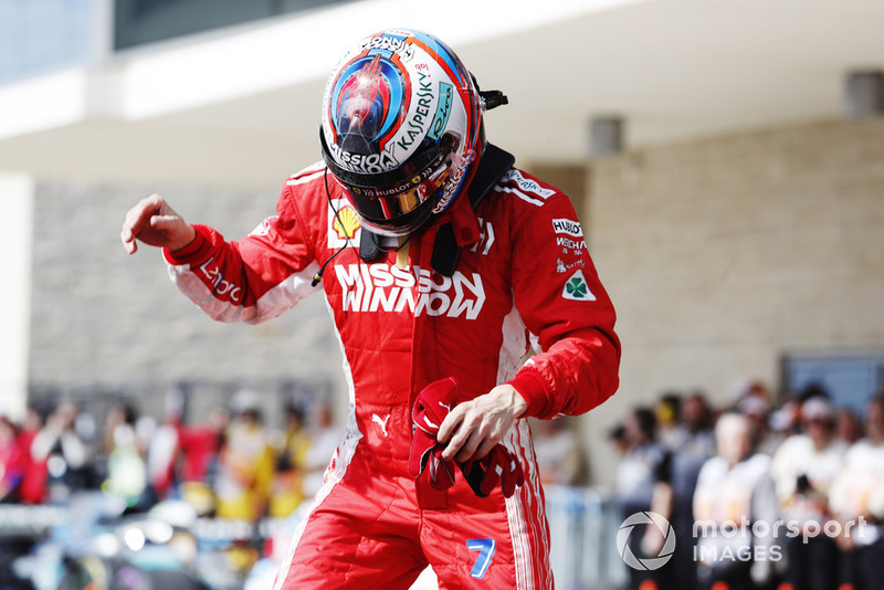 Kimi Raikkonen, Ferrari, 1st position, celebrates on arrival in Parc Ferme