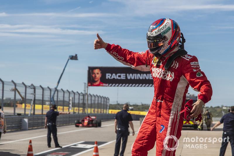 Kimi Raikkonen, Ferrari celebrates in parc ferme