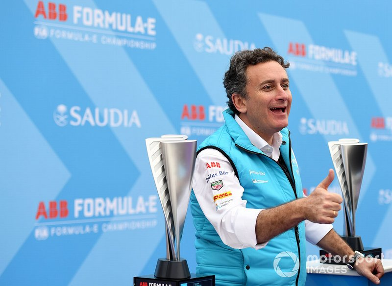 Alejandro Agag, CEO, Formula E on the podium