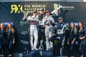 Podium: Race winner Johan Kristoffersson, PSRX Volkswagen Sweden, second place Mattias Ekström, EKS Audi Sport, third place Andreas Bakkerud, EKS Audi Sport