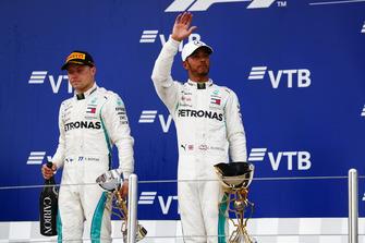 Second place Valtteri Bottas, Mercedes AMG F1, and Race winner Lewis Hamilton, Mercedes AMG F1, on the podium