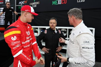 Mick Schumacher, Andy Priaulx and David Coulthard