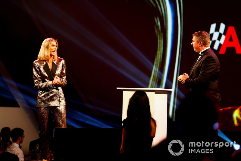 Hosts Nicki Shields and David Croft on stage