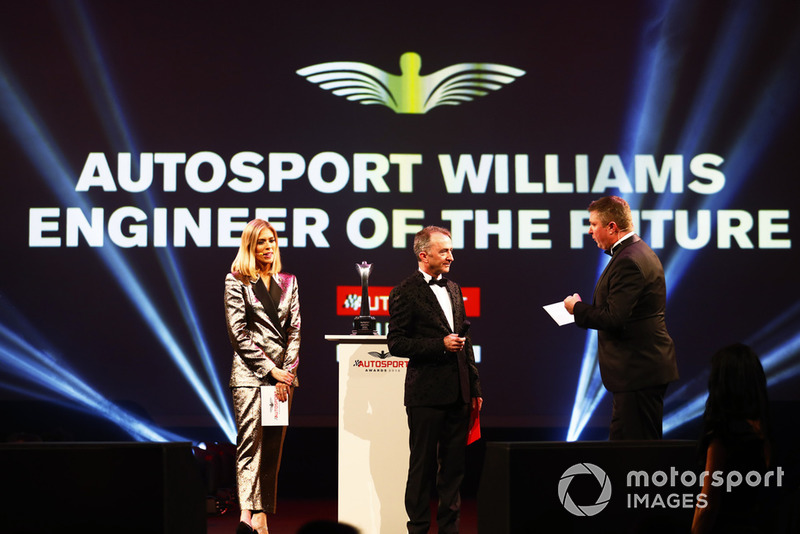 Nicki Shields, Paddy Lowe and David Croft on stage to present the Autosport Williams Engineer of the Future Award