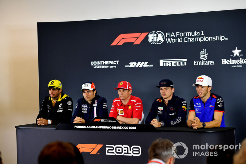 (L to R): Carlos Sainz Jr., Renault Sport F1 Team, Sergio Perez, Racing Point Force India F1 Team, Kimi Raikkonen, Ferrari, Max Verstappen, Red Bull Racing and Pierre Gasly, Scuderia Toro Rosso in Press Conference