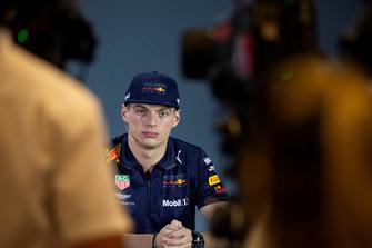 Max Verstappen, Red Bull Racing, in de persconferentie