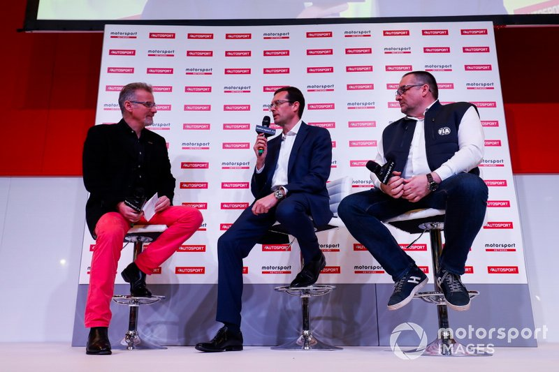 Colin Clark talks to Oliver Ciesla and Yves Matton, WRC guests, on the Autosport Stage