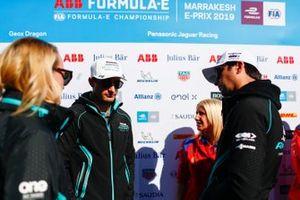 Mitch Evans, Jaguar Racing, Nelson Piquet Jr., Jaguar Racing, in the media pen