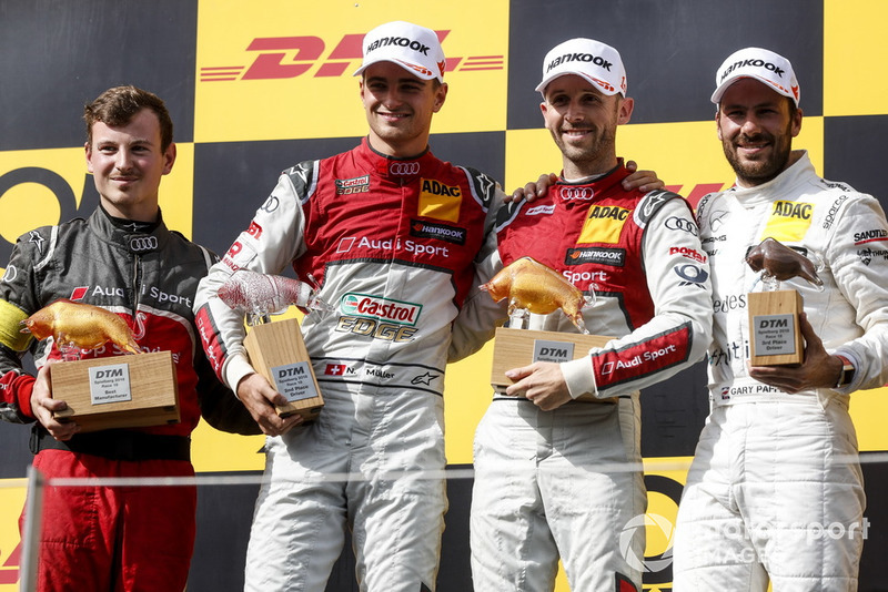 Podium: Race winner René Rast, Audi Sport Team Rosberg, second place Nico Müller, Audi Sport Team Abt Sportsline and third place Gary Paffett, Mercedes-AMG Team HWA
