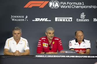 (L to R): Gil de Ferran, Sporting Director, McLaren, Maurizio Arrivabene, Team Principal, Ferrari and Frederic Vasseur, Sauber, Team Principal in the Press Conference