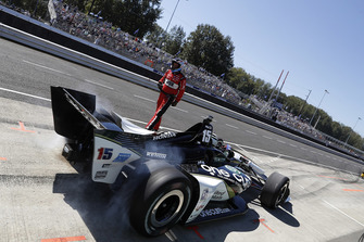 Graham Rahal, Rahal Letterman Lanigan Racing Honda au stand après son crash