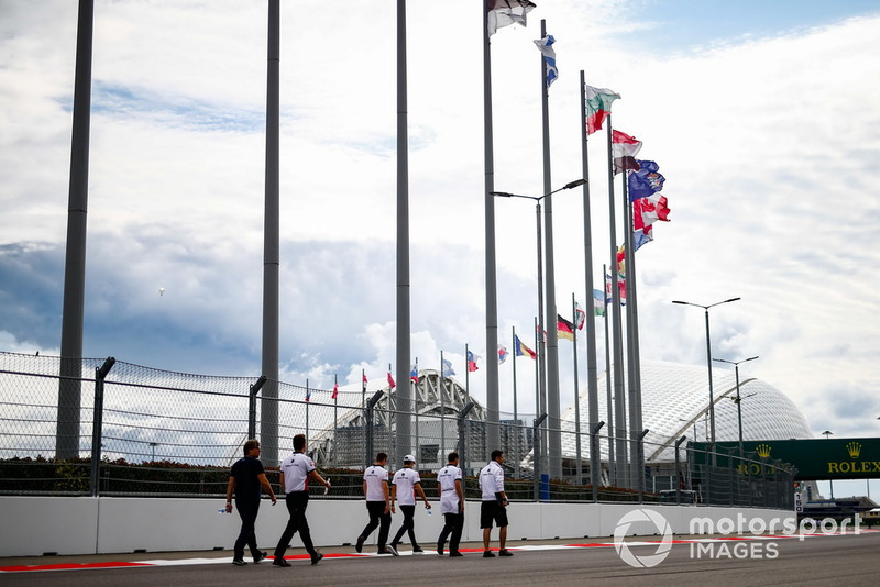 Charles Leclerc, Sauber, walks the track
