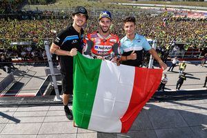 Podium: race winner Andrea Dovizioso, Ducati Team, Moto2 winner Francesco Bagnaia, Sky Racing Team VR46, Moto3 winner Lorenzo Dalla Porta, Leopard Racing