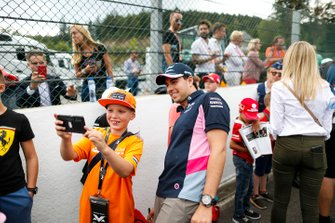 Sergio Perez, Racing Point, poses with fans
