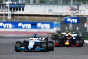 George Russell, Williams Racing FW42, leads Alex Albon, Red Bull RB15