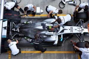 Valtteri Bottas, Mercedes AMG W10, in the pits