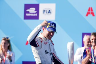 Race winner Robin Frijns, Envision Virgin Racing celebrates on his way to the podium