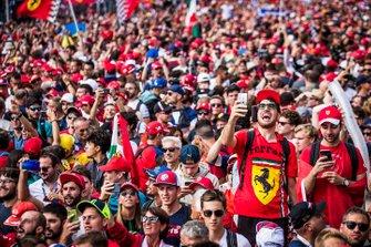 Fans celebrate a home win for Ferrari