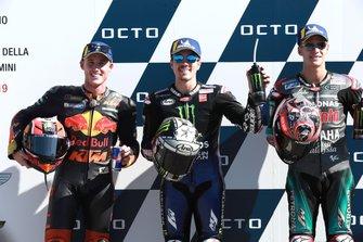 Pole sitter Maverick Vinales, Yamaha Factory Racing, second place Pol Espargaro, Red Bull KTM Factory Racing, Third place Fabio Quartararo, Petronas Yamaha SRT