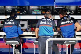 Franz Tost, Team Principal, Toro Rosso, on the pit wall