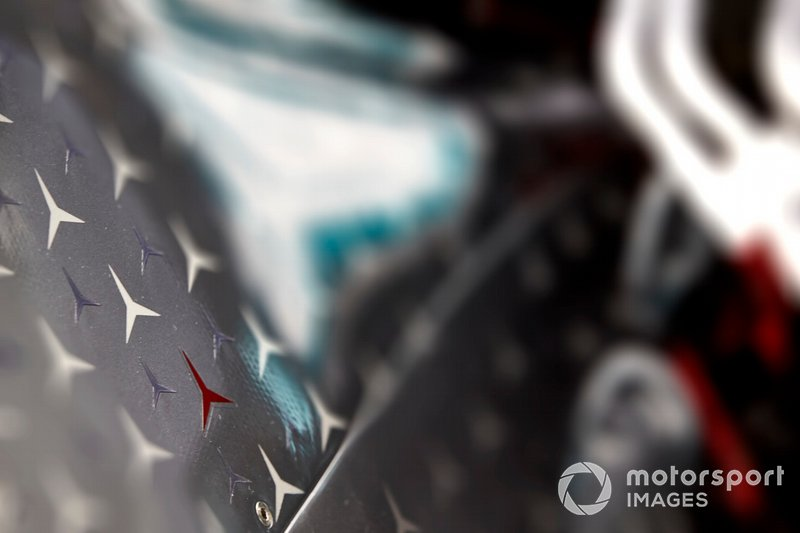 The engine cover on the car of Lewis Hamilton, Mercedes AMG F1 W10