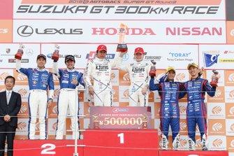 GT 300 podium: race winners #96 K-Tunes Racing LM Corsa Lexus RC F GT3: Sena Sakaguchi, Morio Nitta, second place #5 Advics Mach Syaken Toyota MC86: Natsu Sakaguchi, Yuya Hiraki, third place #61 R&D Sport Subaru BRZ: Takuto Iguchi, Hideki Yamauchi