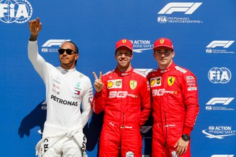 Top three Qualifiers Lewis Hamilton, Mercedes AMG F1, pole man Sebastian Vettel, Ferrari, and Charles Leclerc, Ferrari