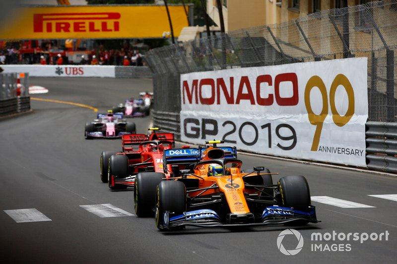 Lando Norris, McLaren MCL34, Charles Leclerc, Ferrari SF90, Lance Stroll, Racing Point RP19