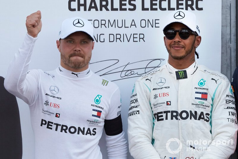 Front row starters, Valtteri Bottas, Mercedes AMG F1, and pole man Lewis Hamilton, Mercedes AMG F1