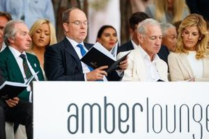 Three times world champion Sir Jackie Stewart and Prince Albert II at the Amber Lounge fashion show