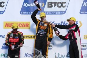 Podium, Jason Plato, Power Maxed Racing Vauxhall, Tom Chilton, Motorbase Performance Ford Focus and Josh Cook, BTC Racing Honda Civic