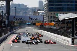 Nikita Mazepin, ART Grand Prix, leads Sean Gelael, PREMA RACING, at the start of the race