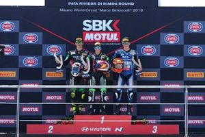 Podium: Race wimmer Ana Carrasco, Kawasaki, second place Manuel Gonzalez, Kawasaki, third place Andy Verdoïa, Yamaha