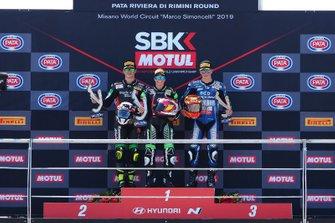 Podium: Race wimmer Ana Carrasco, Kawasaki, second place Manuel Gonzalez, Kawasaki, third place Andy Verdoïa, Yamaha
