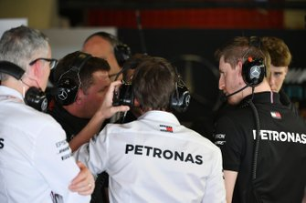 Mercedes team in discussion