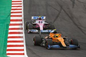 Lando Norris, McLaren MCL35, Lance Stroll, Racing Point RP20