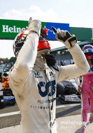 Pierre Gasly, AlphaTauri, 1st position, celebrates his win