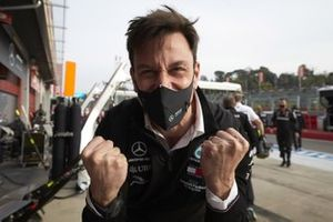 Toto Wolff, Executive Director (Business), Mercedes AMG, celebrates in Parc Ferme