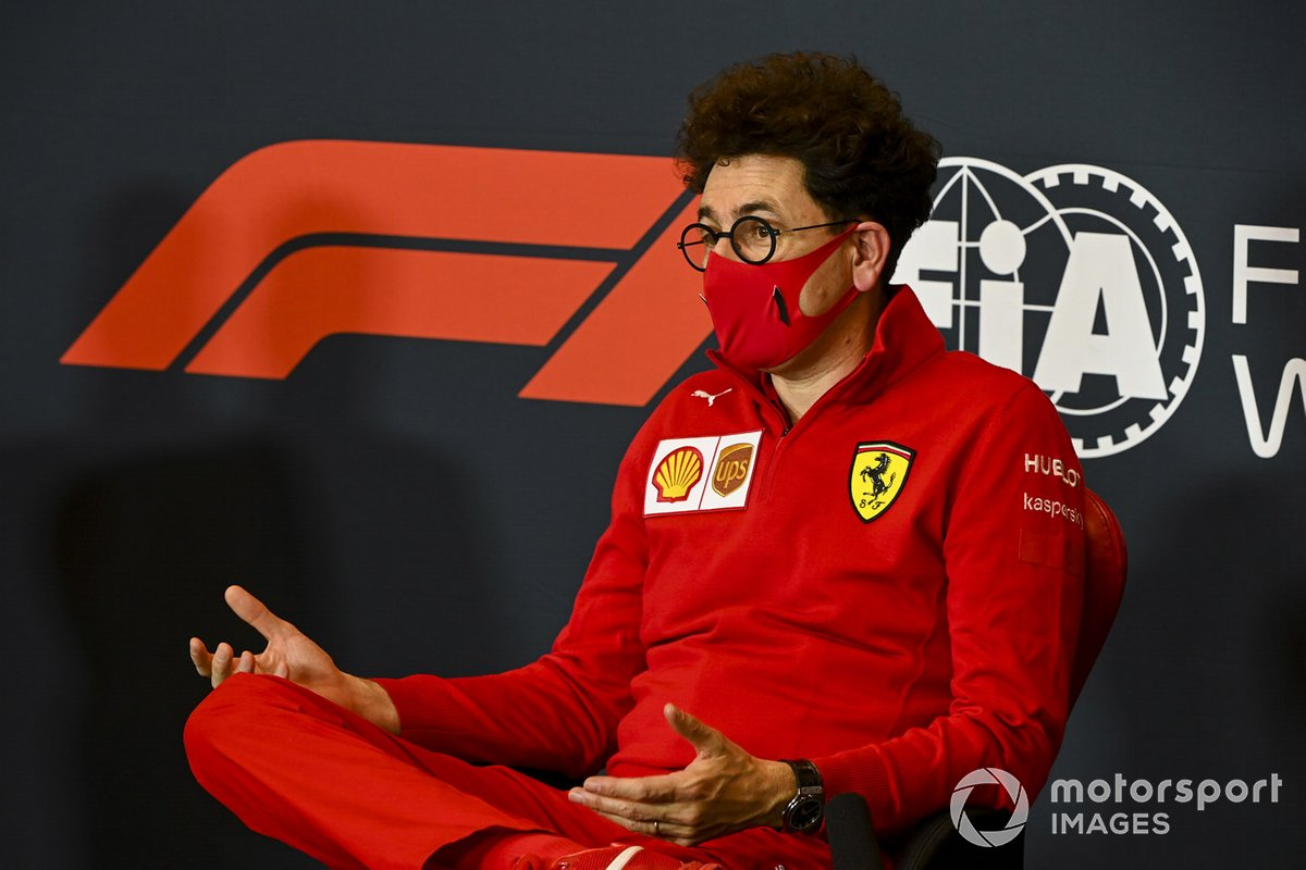 Mattia Binotto, jefe del equipo Ferrari en la rueda de prensa