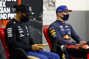 Pole man Lewis Hamilton, Mercedes-AMG F1, and Max Verstappen, Red Bull Racing, in the post Qualifying Press Conference
