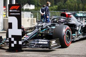 Pole man Lewis Hamilton, Mercedes F1 W11, arrives in Parc Ferme