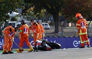 La moto de Mattia Casadei, Ongetta SIC58 Squadracorse après son crash